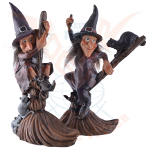 Funny witches riding a broom
