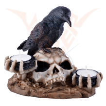Raven on a skull with 2 tea